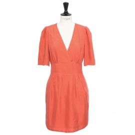 Robe en soie sauvage orange rose corail Px boutique 900€ Taille 36