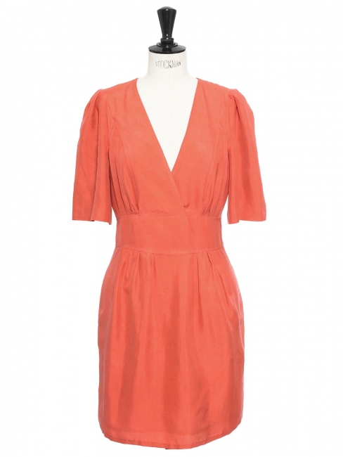 Coral orange pink wild silk short sleeved dress Retail price €900 Size 36