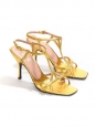 Golden leather ankle strap heel sandals Retail price €550 Size 37