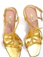 Sandales à talon en cuir doré et bride cheville Prix boutique 550€ Taille 37