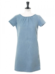 Mid-blue denim wash short sleeved mini dress Retail price €250 Size S