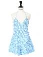 Combishort dos nu en coton imprimé fleuri liberty bleu clair et blanc Taille 34