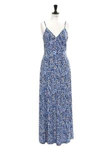 Robe Chiltington longue à fines bretelles en jersey imprimé fleuri bleu et blanc Prix boutique 310$ Taille 36