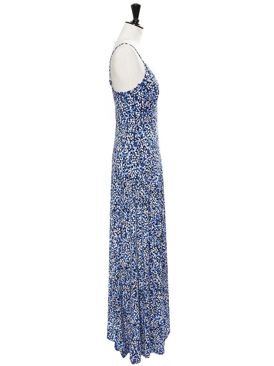 51ca6e52221 ... Chiltington white blue and black floral-print jersey maxi dress Retail  price €310 Size ...