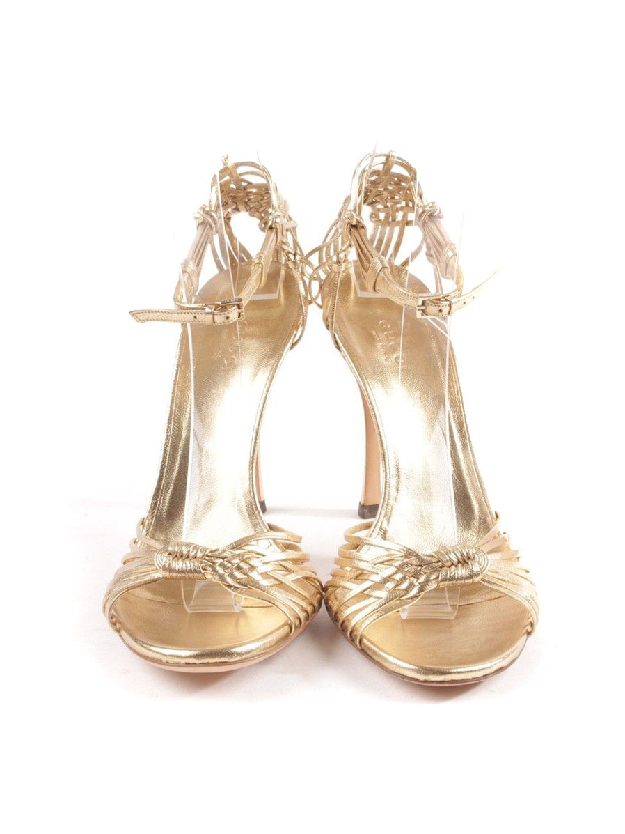 916c65fd026 ... Gold leather ankle strap heel sandals NEW Retail price €690 Size 37.5  ...