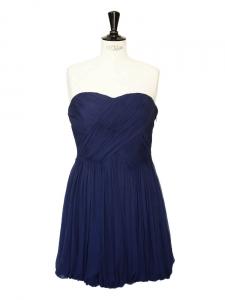 Robe bustier en mousseline de soie plissée bleue marine Px boutique 546€ Taille 38