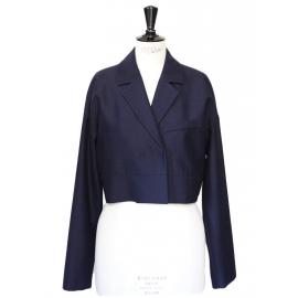 Blazer court type boléro en laine Bleu marine Prix boutique 300€ Taille 40