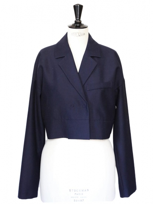 Navy blue wool short bolero blazer jacket Retail price €300 Size 40