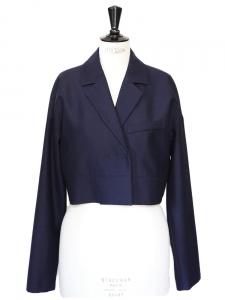 Bleu navy wool short blazer jacket Size 40