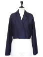 Bleu navy wool short blazer jacket Size 40