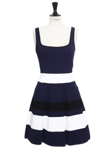 Navy blue, black and white striped stretch jersey dress Retail price $1016 Size S