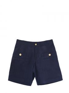 Short en coton et lin bleu marine et boutons dorés NEUF Px boutique 115€ Taille 36