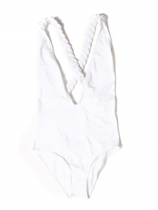 Maillot de bain une pièce blanc dos nu bretelles tressées croisées Taille 38