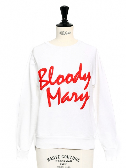 Sweatshirt BLOODY MARY blanc brodé rouge NEUF Prix boutique $268 Taille 34