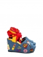 Blue denim badges wedge sandals with red ribbon Retail price €155 NEW Size 38