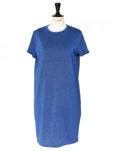 Metallic blue cotton-blend jersey dress NEW Size 36