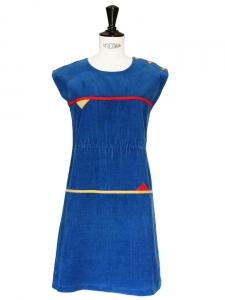 Blue corduroy mini dress with red and yellow triangle flags Size 34