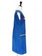 Robe sans manches en velours côtelé bleu drapeau jaune et rouge Taille 34