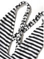 White and black striped open back and braided straps one piece swimsuit Size 38