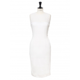 Ivory white eyelet lace cinched body con midi dress Retail price €1200 Size 36