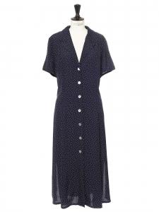 Dark blue and white polka dot printed v neck midi dress Size 38