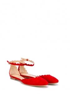 Ballerines LAUREN scalloped à bride cheville en veau velours rouge coquelicot Prix boutique 490€ Taille 36