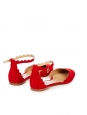 LAUREN Flame red suede leather scallop-edged ballet flats with ankle strap Retail price $695 Size 36