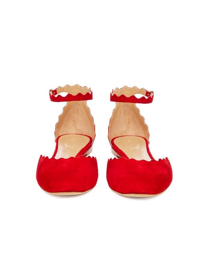 ... Ballerines LAUREN scalloped à bride cheville en veau velours rouge  coquelicot Prix boutique 490€ Taille ... 6afa69a41bd