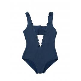 Maillot de bain scallop une pièce décolleté plongeant dos nu bleu navy Px boutique 220€ Taille 34