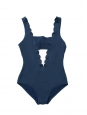 Navy blue scallop edge one piece open back plunging décolleté swimsuit NEW Retail price €220 Size XS
