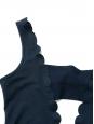 Navy blue scallop edge one piece open back plunging décolleté swimsuit NEW Retail price €220 Size XS