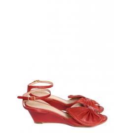 Sandales Terry à noeud en cuir rouge Px boutique 500€ Taille 37