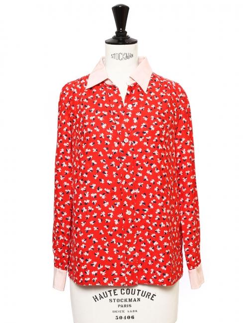 482e26dbeb24 Chemise manches longues en soie imprimée fleuri rouge blanc et bleu nuit  Prix boutique  515 Taille