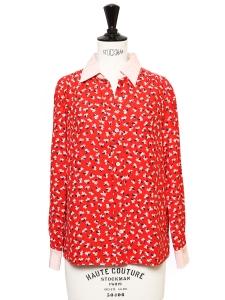 Chemise manches longues en soie imprimée fleuri rouge blanc et bleu nuit Prix boutique $515 Taille 34