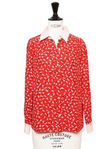 Red white and navy floral print silk long sleeves shirt Retail price $515 Size XS