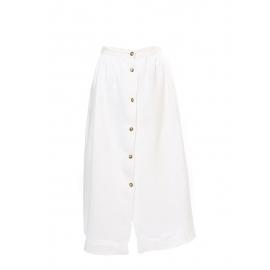 Jupe longue taille haute en lin blanc et boutons écaille Taille 34