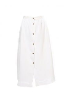 White linen high waist maxi skirt with tortoiseshell buttons Size 34