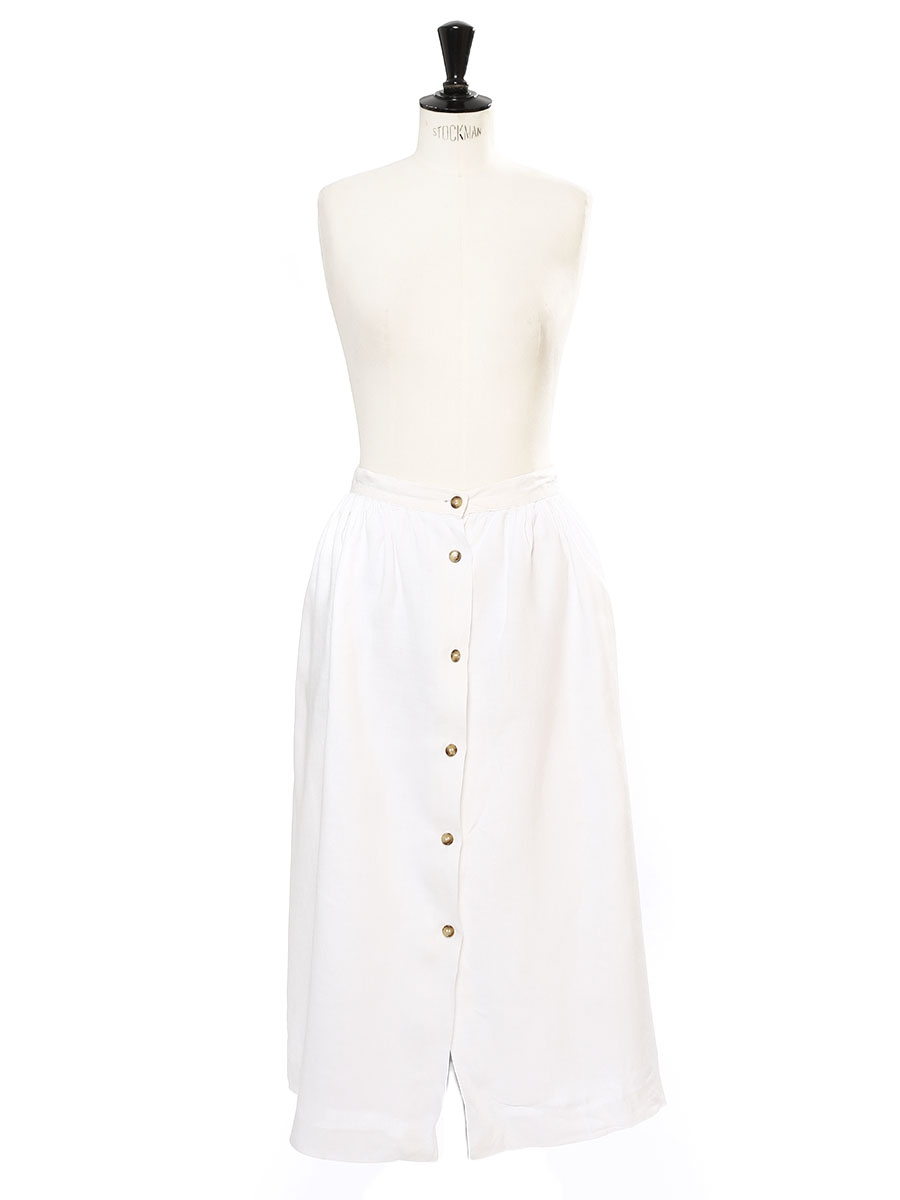 5c009851ae ... White linen high waist maxi skirt with tortoiseshell buttons Size 34