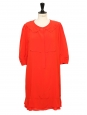 Robe Couture manches courtes en soie rouge vermillon et col claudine Prix boutique 1500€ Taille 40