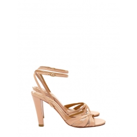 Nude beige pink leather ankle strap heel sandals Retail price €500 Size 40.5