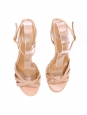 Beige pink leather ankle strap heel sandals Size 40,5