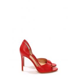 Escarpins sandales talon stiletto en cuir rouge cerise NEUF Prix boutique 560€ Taille 38,5
