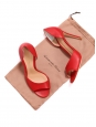 Cherry red leather high heel open toe pumps Retail price €560 Size 38.5