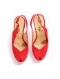 Red suede leather stiletto heel platform peep toe pumps Retail price €795 Size 39