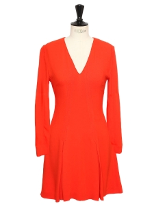 Rubis red crepe cinched and flared dress Retail price €950 Size 36