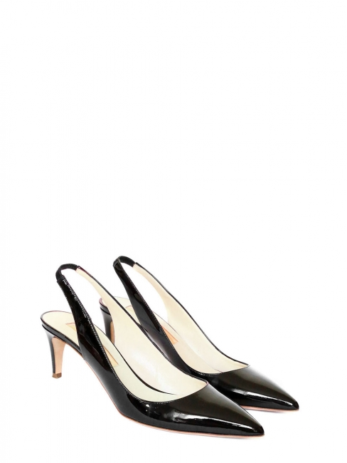 6486f7ad879f Black patent leather low heels pointy toe pumps Retail price €630 Size 38