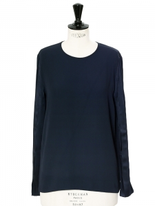 Navy blue crepe and satin long sleeved top Retail price €450 Size 34