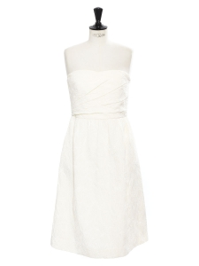 Ivory white damasse strapless midi dress Retail price €260 Size S
