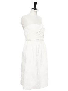Robe bustier longueur midi en damassé blanc ivoire Prix boutique 260€ Taille 36
