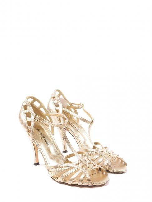 Sandales à talon et bride cheville en cuir doré Px boutique 450€ Taille 38,5
